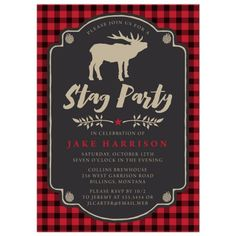 Bachelor Party Invitations - Rustic Red & Black Plaid Stag Party