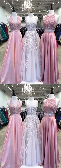 A-Line Tulle Lace Long Prom Dresses/Long Evening Dresses #prom #promdress #promdresses #eveningdress #eveningdresses