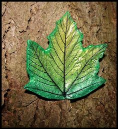 Christmas green maple leaf wall art. Hand by LucasLeafCreations