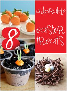 8 adorable easter treats, these are the cutest Easter treats and super easy! Fun to make with the kids. I love easy Easter treats, they are so cute and festive. Easter Snacks, Easter Treats, Easter Party, Easter Recipes, Easter Food, Snack Recipes, Holiday Treats, Holiday Fun, Holiday Recipes