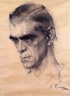 Fechin, Nicolai (1881-1955) - Boris Karloff (National Portrait Gallery, London, UK)