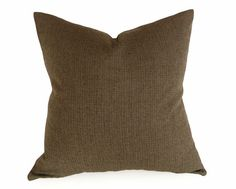 Menswear Style Pillow in rich color blend of brown black green wool houndstooth plaid by PillowThrowDecor