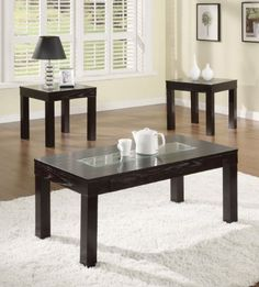 Acme 16225 3-Piece Denhem Coffee/End Table Set, Dark Espresso Finish by ACME. $350.99. Provide the ultimate conversation piece for your contemporary styled room. Made in china. Available in dark espresso finish. Features a glass top with a durable and stylish construction. Denhem coffee/end table set. This is provide the ultimate conversation piece for your contemporary styled room. Dark espresso frames provide the support structure for the table tops with inlaid...