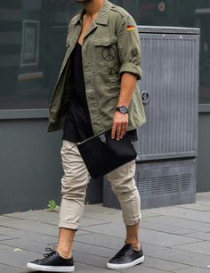 One of my favorite looks. Love the navy green shirt and the black (Common projects type of) sneakers.