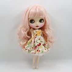 """New 12/"""" Neo Blythe Doll from factory Nude Long Green Straight Bang hair DIY Toy"""