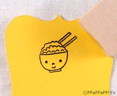 Cute Rice Rubber Stamp 20mm by ppappappiyo on Etsy