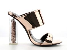 Rose Gold Perspex Block High Heel Slide Mule Open Toe Womens Shoes Dress Sandals #CapeRobbin #Mules #Clubwear