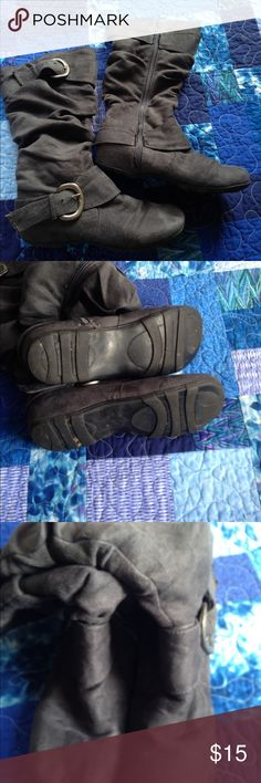 """Dark grey boots Flat grey suede """"like"""" fabric. Gently used-no signs of wear , in great shape. Only worn a few times.🌺 Shoes"""