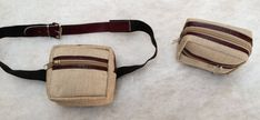 THE CONVERTIBLE HANDY SMALL SQUARE BEIGE AND BROWN FLECK PATTERN ITALIAN CANVAS HIP WAIST Pouch with adjustable ELASTIC EXTENDIBLE BELT + BURGUNDY WINE