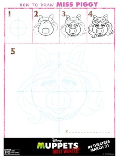 How to Draw Miss Piggy, Muppets Most Wanted Free printables, Muppets free printable, Muppets Birthday
