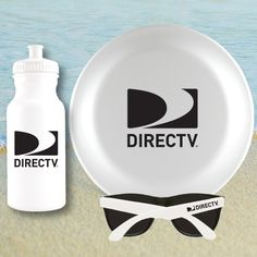 "Good Beach Set 3 piece set includes - 20oz HDPE white water bottle with white push pull cap with a one color/two location or wrap imprint, one white 9.25"" diameter flying disc with one color/one location imprint and a pair of plastic sunglasses with black lenses and white arms and a one color/one location imprint. Bottle and flyer made in the USA. Kit packaged in a white mesh sleeve. 7 day regular production. 3 day rush available."