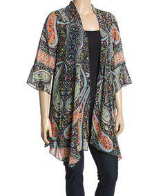 batik amarillisBatik Amarillis s Breezy · Loving this Black  amp  Orange  Paisley Sheer Kimono - Plus on  zulily!   6147f6fc8a