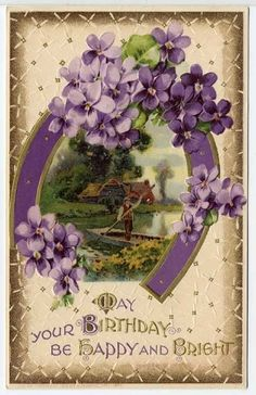 Gorgeous Birthday Postcard Purple Flowers & Horseshoe