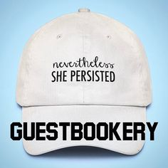 "Nevertheless She Persisted Hat - Dad Hat - Dad Cap - Baseball Hat - Elizabeth Warren, We Stand With You - Unisex - Feminist - Girl Power Elizabeth Warren, We Stand With You! Details: Unstructured, low-profile 100% cotton chino twill 6 Panel 3 1/8' crown Permacurv visor - maintains its shape Adjustable self strap with hide-away side buckle Buckle closure with grommet Spot clean/hand wash Head Circumference - 20 1/2"" to 21 5/8"" Please let us know if you have any questions :) 