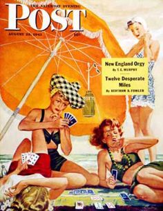 Saturday Evening Post Copyright 1943 Card Game At Beach