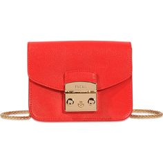 Furla Metropolis mini crossbody (€245) found on Polyvore featuring women's fashion, bags, handbags, shoulder bags, red, red purse, mini purse, mini cross body purse, red crossbody purse and furla shoulder bag