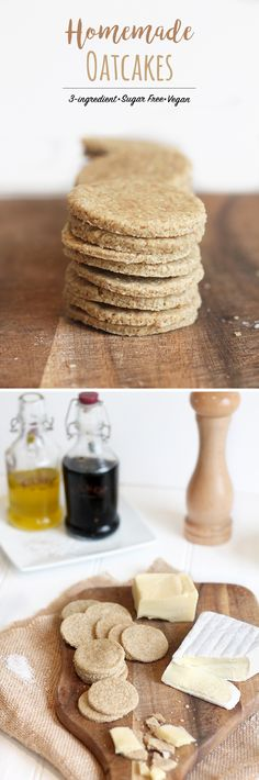 Avoid processed vegetable oils and other questionable ingredients in shop-bought oatcakes by making your own. It takes 3 ingredients and 5 mins prep. Sugar Free Vegan, Gluten Free Oats, Recipes Appetizers And Snacks, Snack Recipes, Oatmeal Recipes, Free Recipes, Dessert Recipes, Desserts, Healthy Sweets