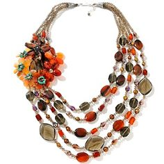 "CL by Design Smoky Quartz and Agate Sterling Silver Floral 28-1/4"" Necklace at HSN.com."