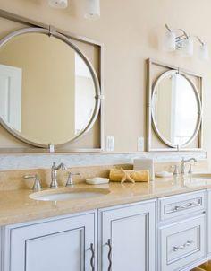 Square and circle silver wall mirror