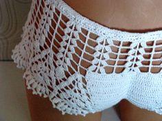Original crochet playa corto pantalones cortos de trajes de