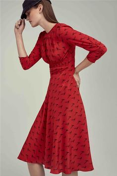 silk-printed-odette-tea-dress-quill-feather-red