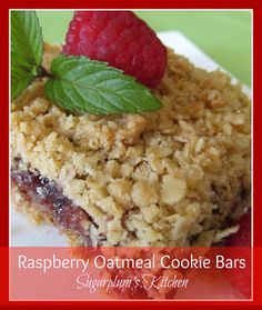 Raspberry Oatmeal Cookie Bars--So delicious and easy to make!  Sugarplumskitchen.com