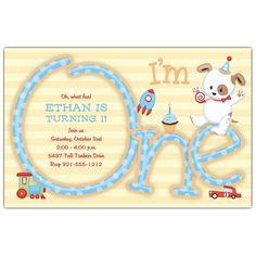 Im One Boy 1st Birthday Invitations