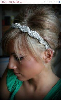 ON SALE Rhinestone Headband, AMARA, wedding headband, hair accessories, bridal headband, wedding, bridal hair piece. $29.71, via Etsy.