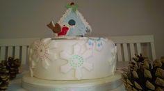 Christmas Bird House Cake