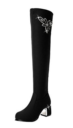 3cb1593f8065 TMates Womens Elegant Warm Faux Fur Lined Elastic Pullon Chunky Heel Over  the Knee Long Boots 55 BMUSBlack     Click image to review more details.