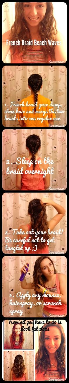 Get easy HEATLESS waves with a simple French braid. Simply braid, sleep, updo!