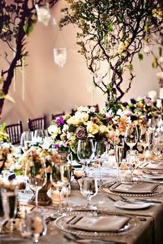 Long kings tables at the Fairmont Sonoma Mission Inn.  Sonoma Wedding, floral trees, chargers.  Floral by Amy Burke Designs, Planning and Design by Every Elegant Detail, Photo by Shannon Stellmacher