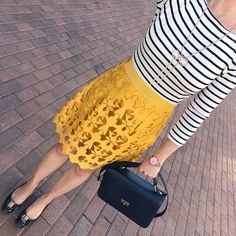bow necklace, Ferragamo Vara pumps, J.Crew eadie bag, sunny lace skirt, striped shirt, spring outfit idea, work outfit, business casual outfit, petite fashion blog - click the photo for outfit details!