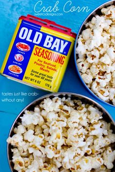 old bay seasoned popcorn - this stuff is SO good on a summer night! Super easy to make and it tastes like crab chips! Bay Seasoning (Butter Substitute For Popcorn) Flavored Popcorn, Gourmet Popcorn, Popcorn Recipes, Old Bay Popcorn Recipe, Homemade Popcorn, Perfect Popcorn, Best Popcorn, Pop Popcorn, Appetizer Recipes