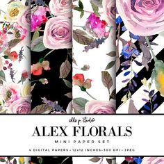 Alex Floral Digital Paper Set; Digital Scrapbook Paper