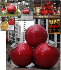 Decorating Giant Holiday/Christmas Ornaments.  DIY,using beach balls and gloss spray paint.