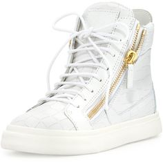 Giuseppe Zanotti Crocodile-Embossed High-Top Sneaker ($750) ❤ liked on Polyvore featuring shoes, sneakers, bianco, low heel shoes, lacing sneakers, leather shoes, lace up shoes and leather high top sneakers