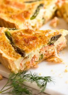 This Salmon Quiche is a stunner! Beautiful creamy quiche filling with smoked salmon, dill and asparagus. For homemade quiche crust OR prepared pie shell. Salmon Recipes, Fish Recipes, Seafood Recipes, Gourmet Recipes, Cooking Recipes, Healthy Recipes, Dinner Recipes, Egg Recipes, Vegetables
