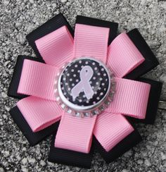 Breast Cancer Awareness Hair Bow or Pin Breast Cancer by bowsforme, $7.00