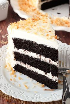 Chocolate Coconut Cake - super moist and chocolatey cake paired with coconut…