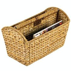 Household Essentials Wicker Banana Leaf Magazine Rack by Wayfair Clutter Solutions, Home Storage Solutions, Blanket Rack, Bookcase Organization, Paper Organization, Office Organization, Bathroom Organization, Bathroom Storage, Organization Ideas