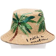 Kate Spade I Need A Vacation Cloche (165 CAD) ❤ liked on Polyvore featuring accessories, hats, kate spade, cloche hat, embroidery hats, palm hat and embroidered hats