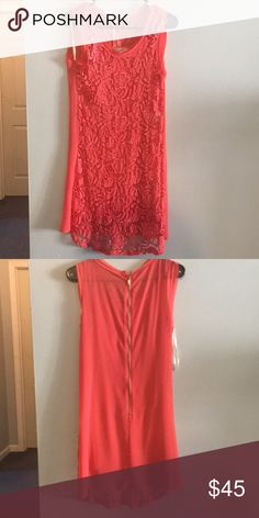 Coral Lace Sheath Dress Excellent condition! It has a coral slip underneath and a lace overlay. I only wore it once to a wedding, can post try on pictures upon request. Blu Pepper Dresses Mini
