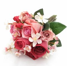 A small posy of deep pinks garden roses and cherry blossom.
