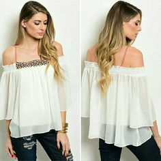 """Aztec Detailed Cold Shoulder Flowy Top Just arrived! Fabric Content: 100% POLYESTER Sizes: S-M-L Measurements on small : L: 24"""" B: 34"""" W: 50"""" -Sheer flowy top features exposed shoulders with a smocked trim, embroidered neckline, a relaxed fit and 3/4 sleeves. *more to follow *pictures borrowed from distributer   Tops"""