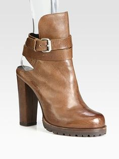 Brunello Cucinelli Leather Shearling-Lined Ankle Boots