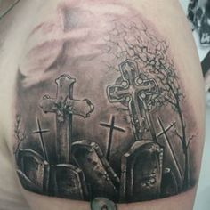 castle and graveyard tattoo pictures to pin on pinterest. Black Bedroom Furniture Sets. Home Design Ideas