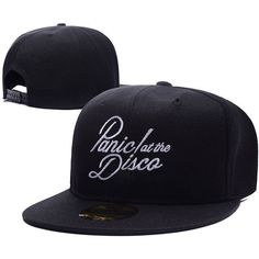 Panic At The Disco Band Logo Adjustable Snapback Caps Embroidery Hats ($11) ❤ liked on Polyvore featuring accessories, hats, embroidered caps, adjustable hats, embroidered hats, snapback hats and adjustable cap
