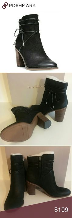"""🆕Franco Sarto Ankle Booties These booties pair perfectly with everything from jeans to skirts and dresses! A wrapping ankle tie adds chic elegance to the block heel styling. Zipper closure at inner ankle. Heel: 3.5"""". Material: leather upper. According to the manufacturer, the fit runs true to size. Franco Sarto Shoes Ankle Boots & Booties"""