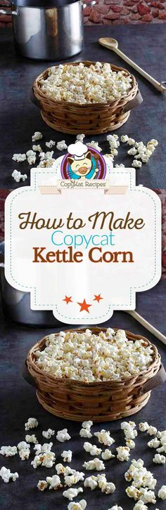 You can make kettle corn from scratch, its easy to do. Step by step instructions on how to make delicious kettle corn. Popcorn Recipes, Snack Recipes, Snacks, Gourmet Popcorn, Healthy Recipes, Homemade Kettle Corn, Kettle Popcorn, Copykat Recipes, Cooking Challenge